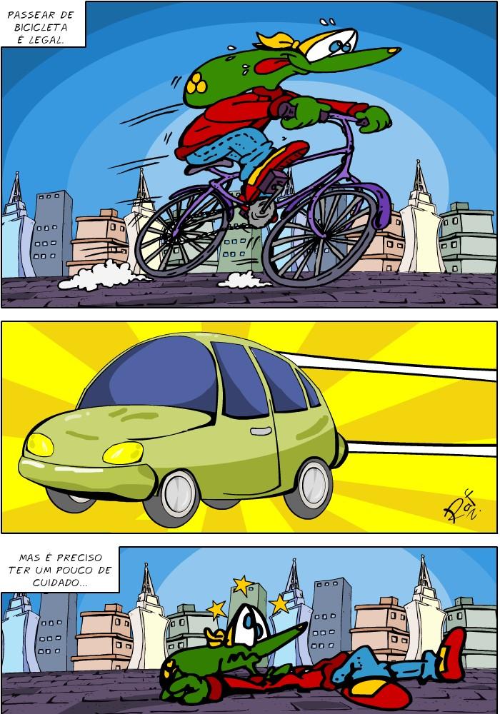 atropelamento, ciclista, RS, Massa, crítica, Sapo Brothers, diversão, tiras, humor, games, jogos, animação, anima, quadrinhos, infantil, minja, jones