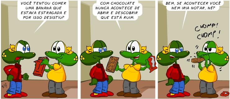 Banana, chocolate, piada, tiras, humor, HQ, quadrinhos, infantil