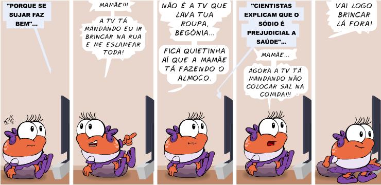 begônia, TV, OMO, piada, tiras, humor, HQ, quadrinhos, infantil