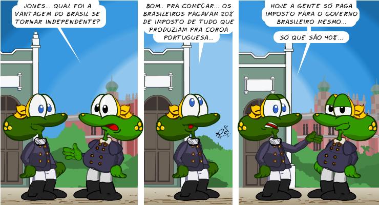 Brasil imperial, independência, imposto, piada, tiras, humor, HQ, quadrinhos, infantil