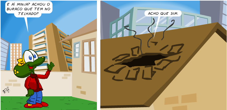 Sapo Brothers, telhado, buraco, tiras, humor, HQ, quadrinhos, infantil