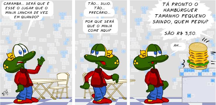 Sapo Brothers, lanchonete, tiras, humor, HQ, quadrinhos, infantil