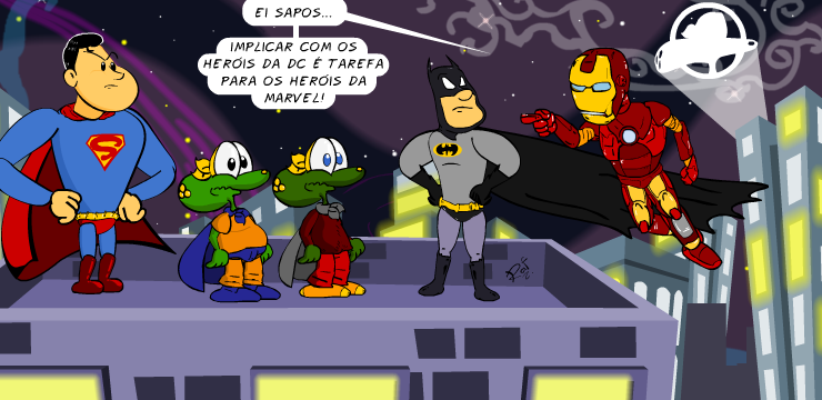 Homem de ferro, Batman, superman, Sapo Brothers, tiras, humor, HQ, quadrinhos, infantil