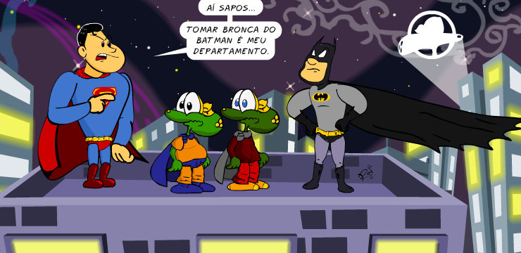 Batman, superman, Sapo Brothers, tiras, humor, HQ, quadrinhos, infantil